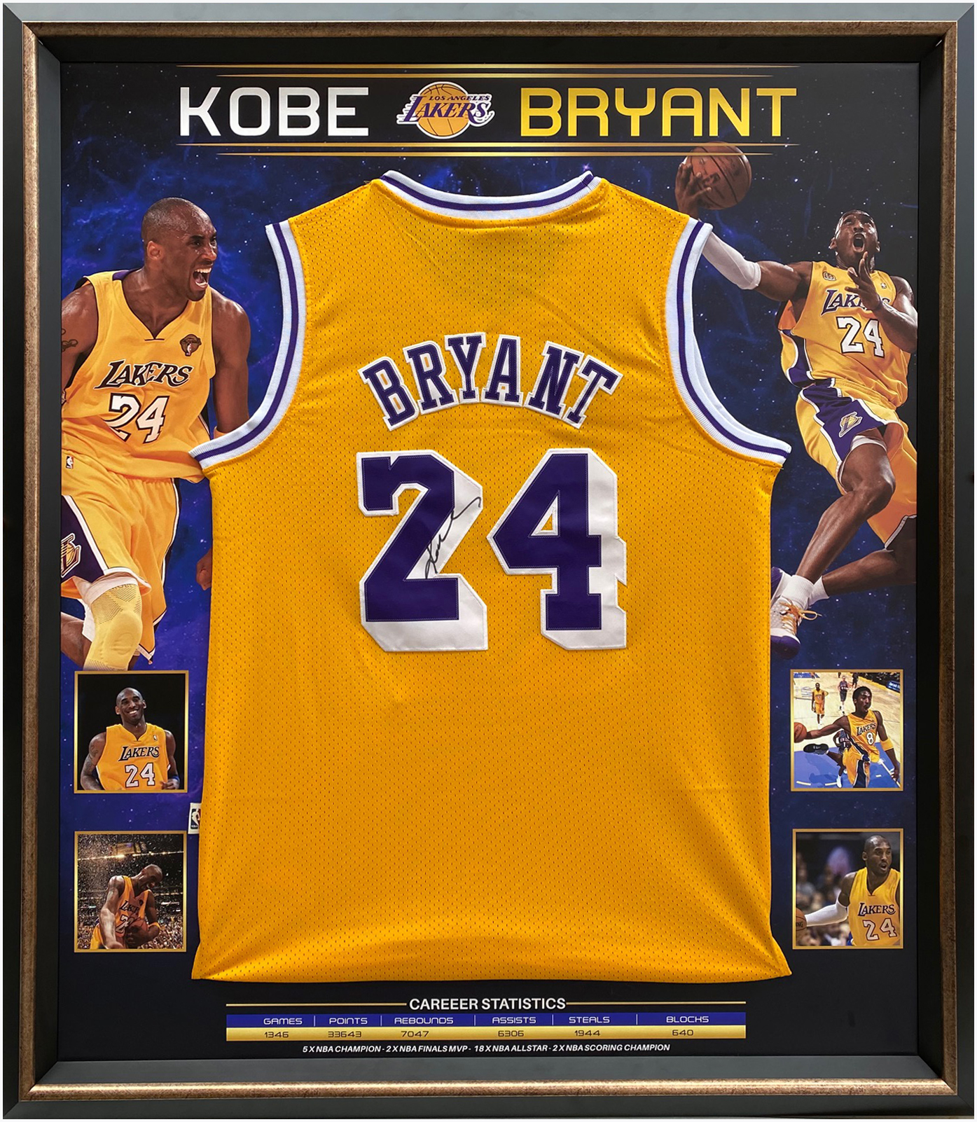 Kobe Bryant #24 Signed NBA LA Lakers Jersey Framed - Panini Certified